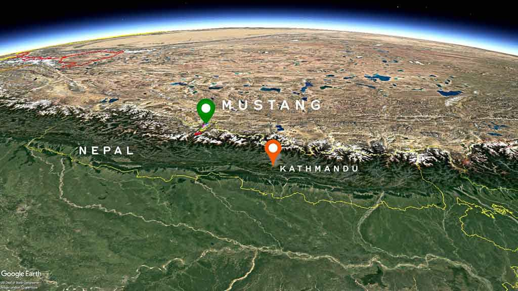 Map to mustang, nepal