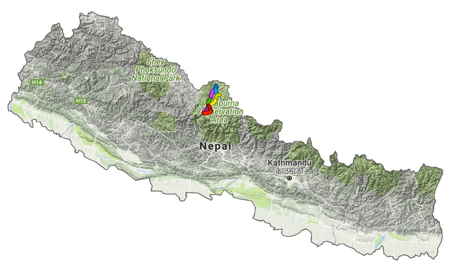 Map of nepal showing mustang